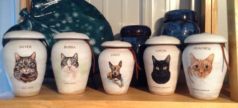 Custom image cat urns and dog urns with your pet's likeness