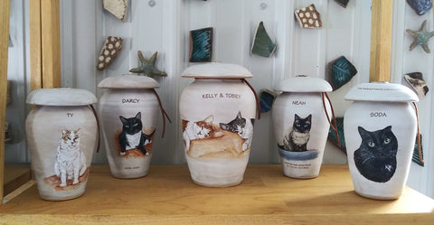 Pet cremation urn from your photo Malloryville Pottery