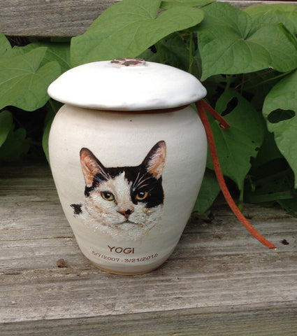 Malloryville Pottery custom cat urn