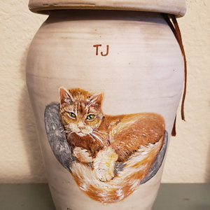 Cat urn by Malloryville Pottery