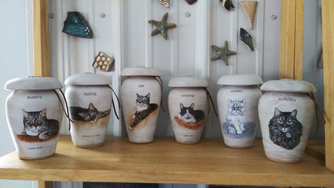 Custom painted cat cremation urns Malloryville Pottery