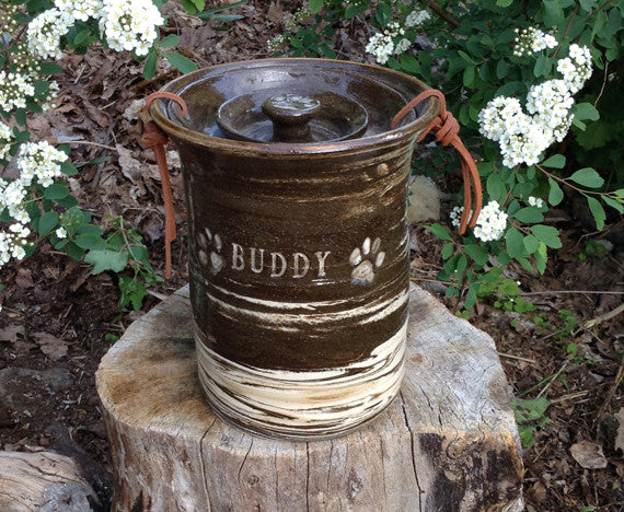 "Medium Sized Dog Urn Buddy Urn ""Running Through Birches"""