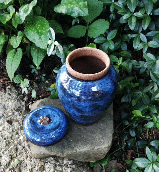 """Blue Heaven"" Small Dog Urn or Cat Urn for Ash"