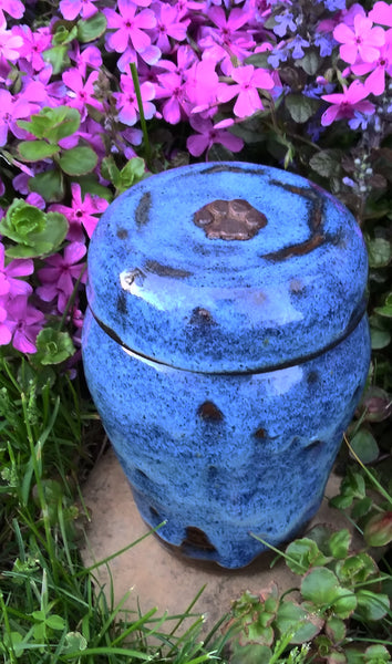 """Blue Heaven"" Stoneware Cat or Small Dog Urn"