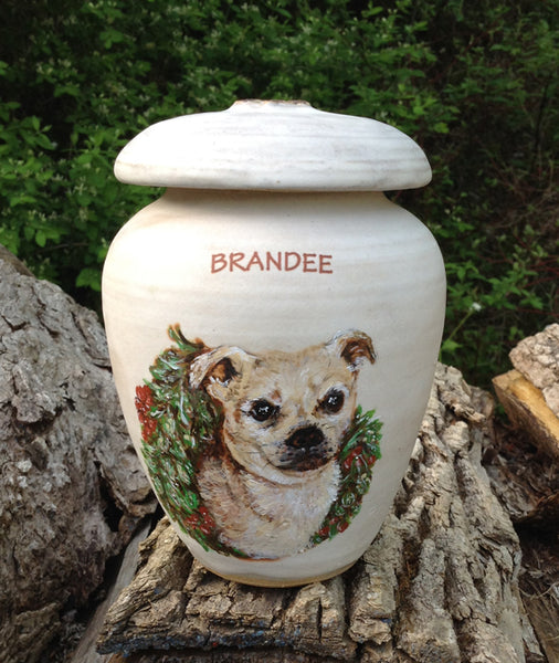 "CUSTOM Image Pet Urn for Small Dog Up to 15 lbs ""Among the Clouds"""