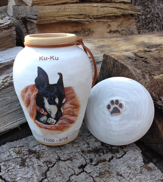"CUSTOM Image Pet Urn for Small Dog Up to 25 lbs ""Among the Clouds"""