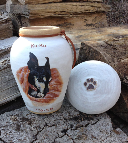 "CUSTOM Image Pet Urn for Small Dog Up to 30 lbs ""Among the Clouds"""