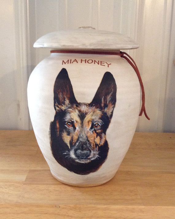 "CUSTOM Photo Pet Urn for Medium to Large Dog Up to 75 lbs ""Among the Clouds"""