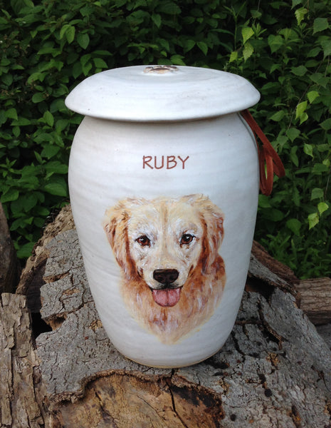 "CUSTOM Photo Pet Urn for Large Dog Up to 100 lbs ""Among the Clouds"""