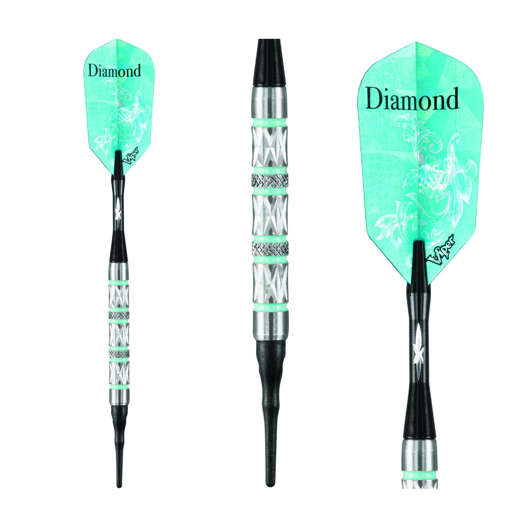 DIAMOND TUNGSTEN SOFT TIP DART SET TURQUOISE