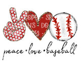 Peace Love Baseball HTV Print