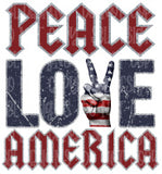 Peace Love America Sublimation Transfer