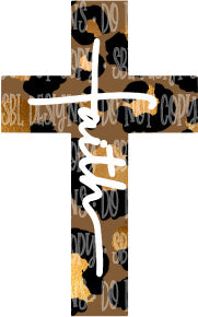 Leopard Faith Cross HTV Print