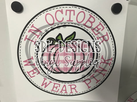 October Pink Pumpkin Circle Sublimation Transfer