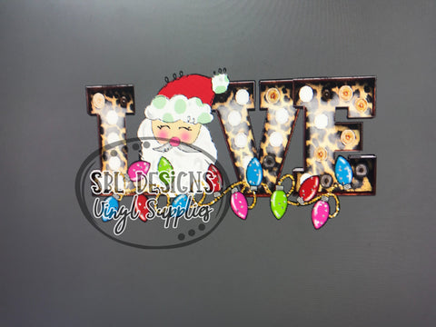 Love Santa Leopard Marquee Sublimation Transfer