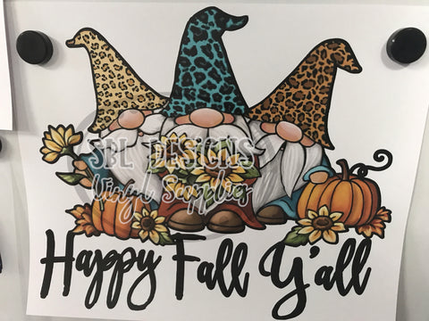 Happy Fall Y'all Gnomes HTV Print
