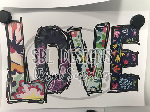 LOVE Floral Cow Sublimation Transfer