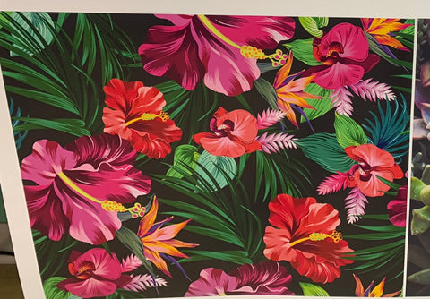 Tropical Flowers Adhesive Vinyl