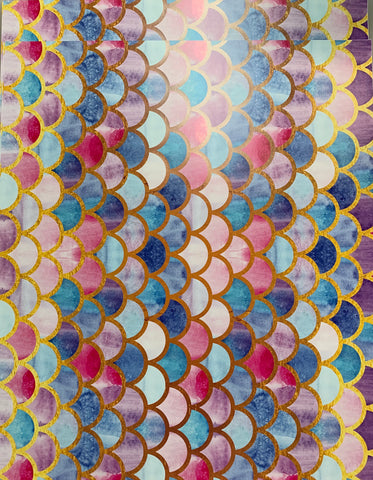 Mermaid Scales Watercolor Print Adhesive Vinyl