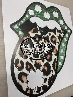 Saint Patrick's day Leopard Tongue HTV Print
