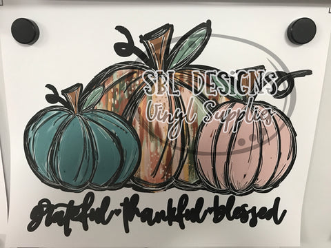 Grateful Thankful Blessed Pumpkins Sublimation Transfer