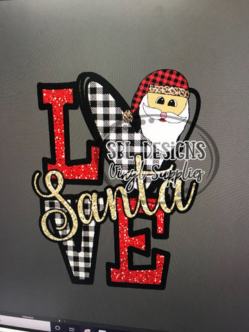 Love Santa Buffalo Plaid HTV Print