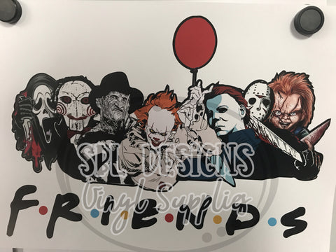 Halloween Friends Red Balloon Sublimation Transfer