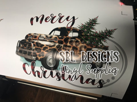 Leopard Christmas Truck Sublimation Transfer