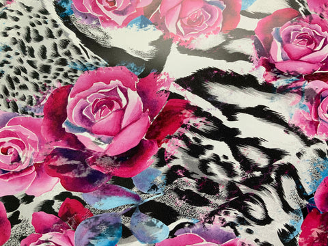 Black & White Rose Print Adhesive Vinyl