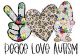 Peace Love Autism Gnome Sublimation Transfer