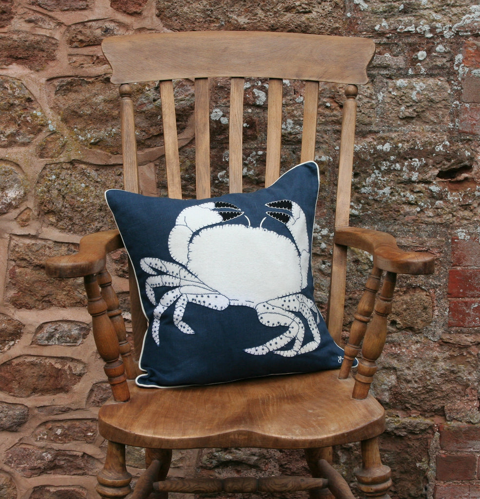 Jan Constantine  Crab Cushion, Navy