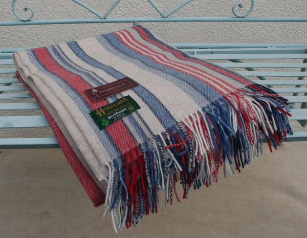 Hanly Merino Wool and Cashmere Throw, Blue, Red, and Creamy White Stripes.