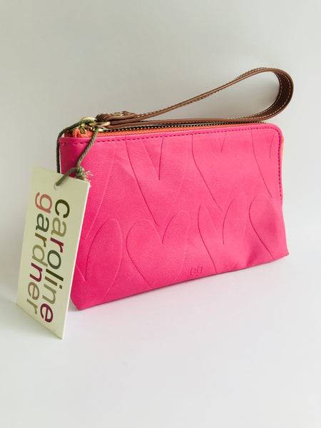 Caroline Gardner Embossed Heart Purse, Pink