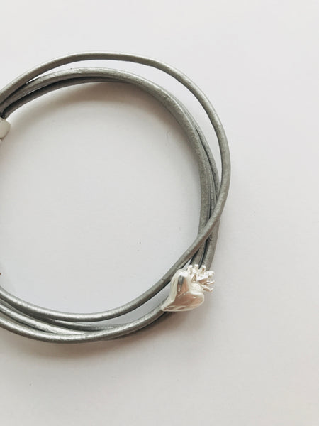 Hot Tomato Multi Strand Leather Bracelet, Silver/Grey