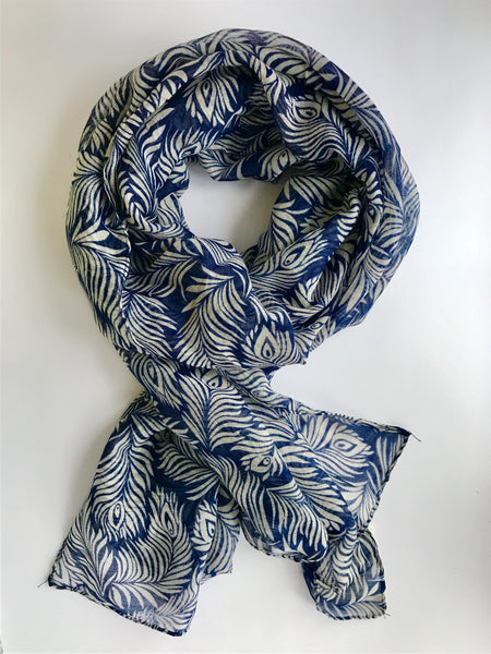 Poppy Printed Scarf, Blue/White