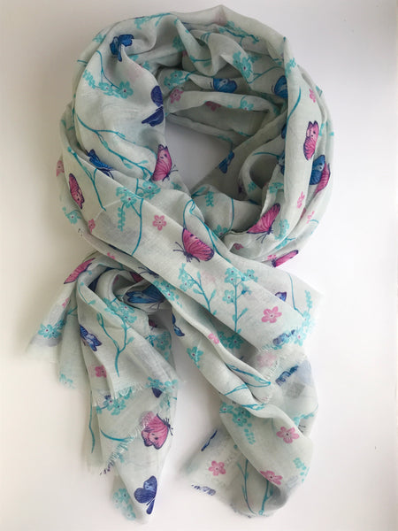 Hazel & Pip Butterfly Printed Scarf, Pink/Turquoise