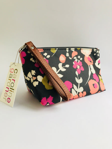 Caroline Gardner Ditsy Floral Cosmetic Purse/Bag, Charcoal
