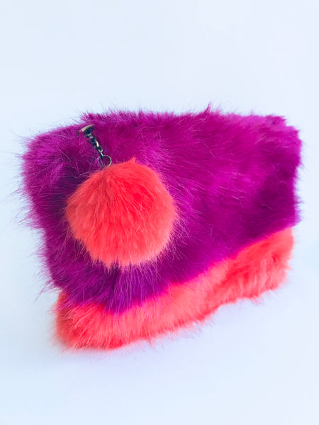 Helen Moore Fluffy Pom Pom Clutch Bag, Pink/Orange