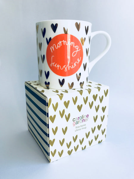 Caroline Gardner Boxed Heart Mug, White/Gold