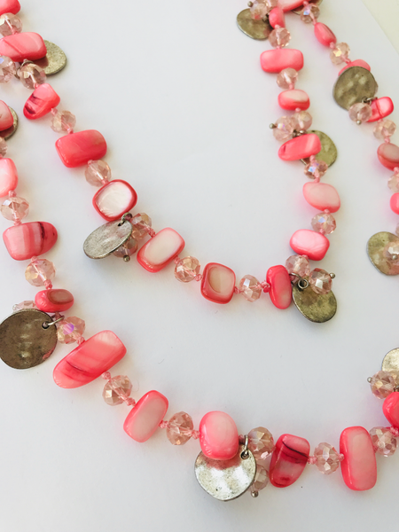 Bcharmd Pink Shell Long Necklace