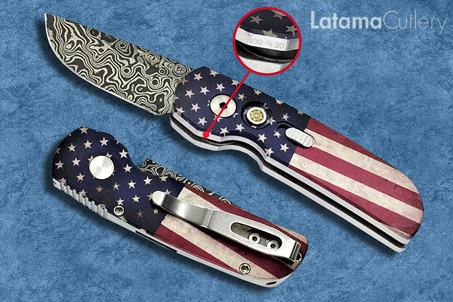 "Pro-Tech Calmigo PK Custom Automatic ""Vintage Flag"" Damascus - 2240-DAM - Limited Edition #30 of 30"