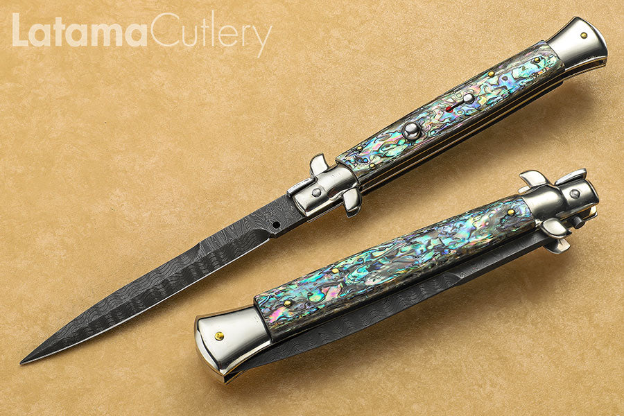 "Walt's Classic 11"" Abalone DAMASCUS Half Grind D-CL-AB-HG11166"