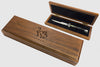 latama walnut switchblade display box case with walt stylized cat logo over italy