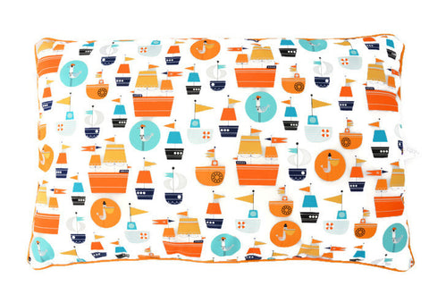 Pillow in Orange Ships