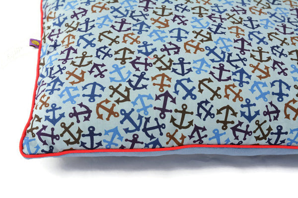 Pillow in Anchors: Sail With Me My Love! Nautical style