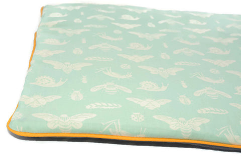 Flat Pillow for Newborn Babies. Oh! Organic Cotton! Bugs print and mint. New born pillow
