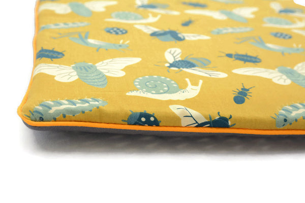 Flat Pillow for Newborn Baby in Golden Bugs. Buzzz Honey Bee! Organic Cotton.