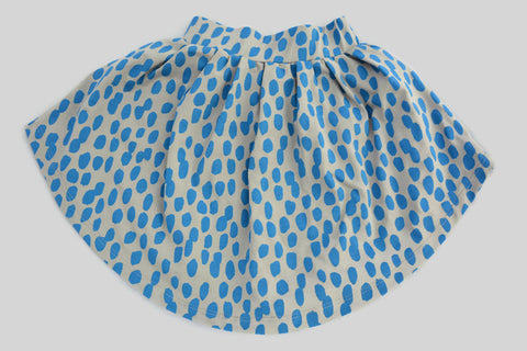 Ocean Blue Skirt for Baby Girl and for Toddler in Brush Stroke hand drawn pattern
