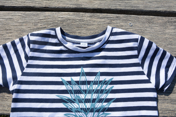 Stormy Blue Pineapple on Stripes Tshirt