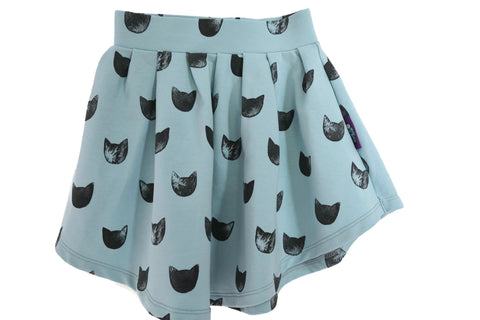 BEAUTIFUL SKIRT WITH ALLOVER GREY CAT PRINT FOR BABY GIRL AND TODDLER // hand drawn pattern